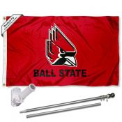 Ball State Cardinals Flag and Bracket Flagpole Set
