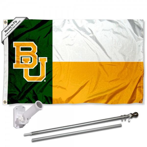 Baylor BU Bears Flag and Bracket Mount Flagpole Set
