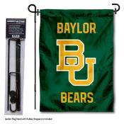 Baylor BU Bears Wordmark Logo Garden Flag and Holder