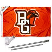 BGSU Falcons Flag and Bracket Flagpole Set