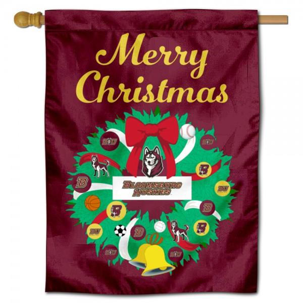 Bloomsburg Huskies Christmas Holiday House Flag