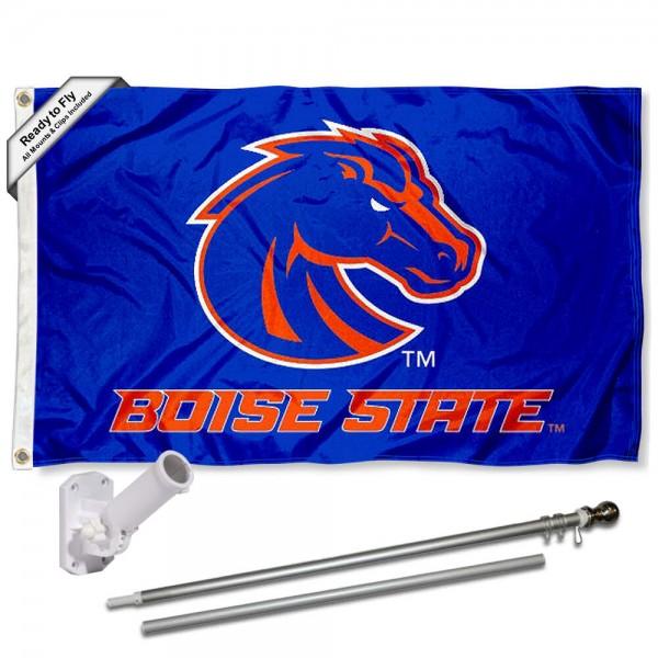 Boise State Blue Flag and Bracket Flagpole Set
