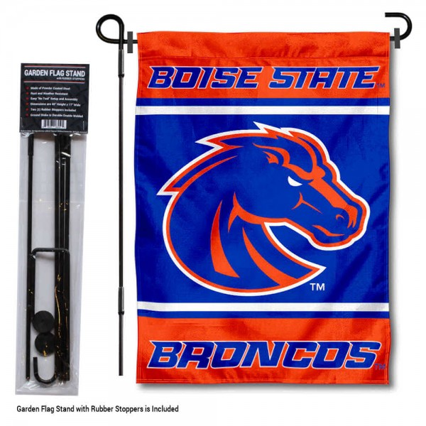Boise State University Garden Flag and Yard Pole Holder Set