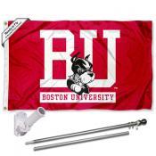 Boston BU Terriers Flag and Bracket Mount Flagpole Set