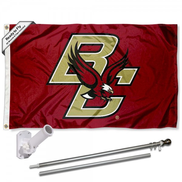 Boston College 3x5 Flag and Bracket Flagpole Set
