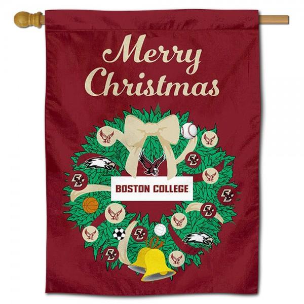 Boston College Eagles Christmas Holiday House Flag