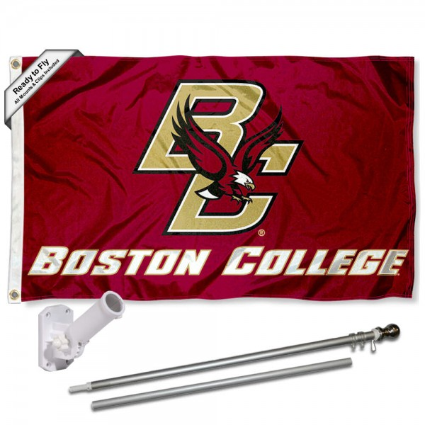 Boston College Flag and Bracket Flagpole Kit