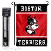 Boston University Garden Flag and Yard Pole Holder Set