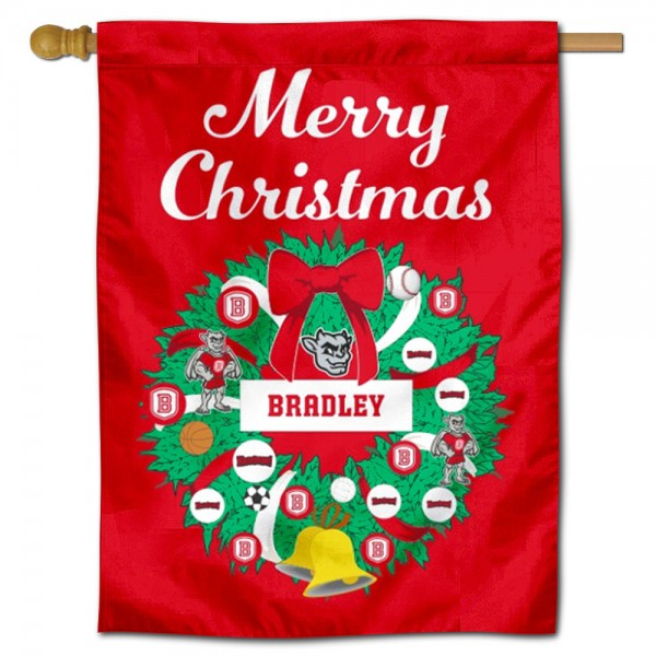 Bradley Braves Christmas Holiday House Flag