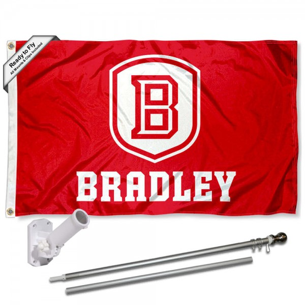 Bradley Braves Flag and Bracket Flagpole Set