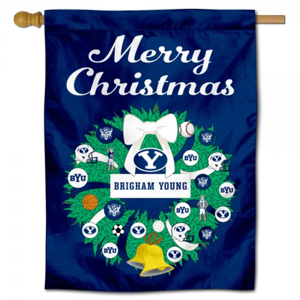 Brigham Young Cougars Merry Christmas House Flag