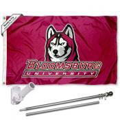 BU Huskies Flag and Bracket Mount Flagpole Set