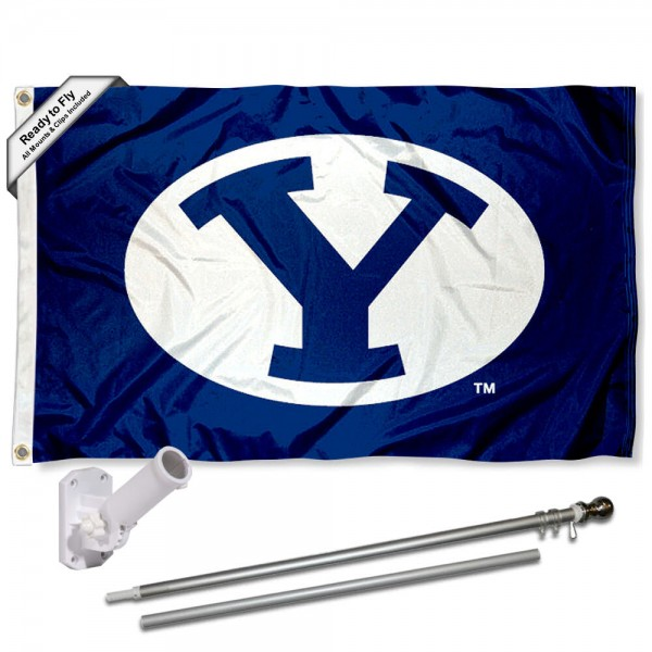 BYU Cougars Flag and Bracket Flagpole Set