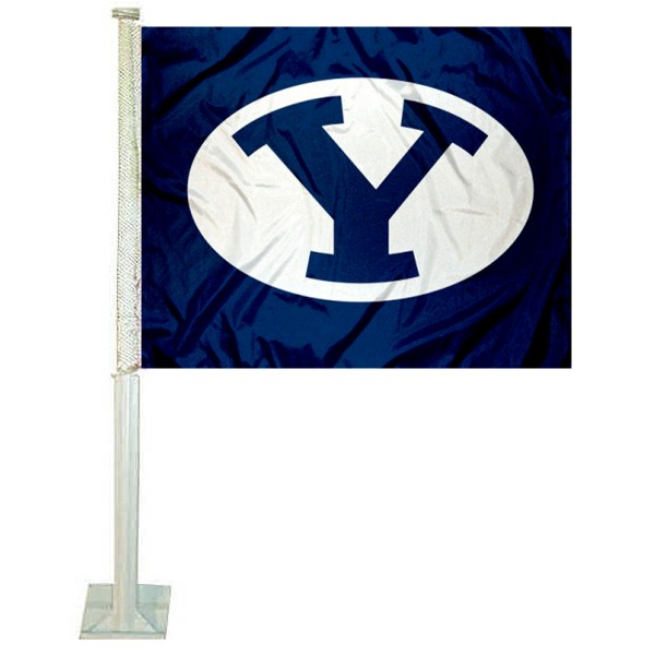 BYU Cougars Oval Logo Car Flag