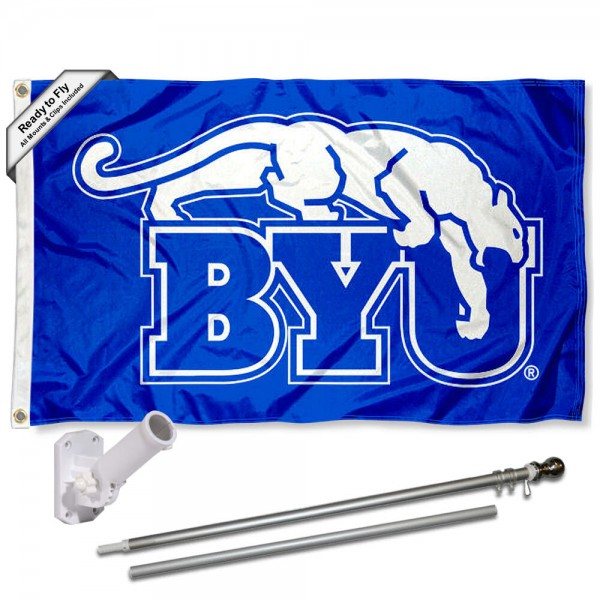 BYU Cougars Throwback Flag and Bracket Flagpole Set