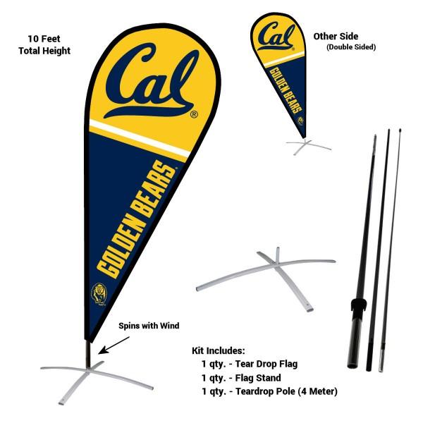 Cal Berkeley Golden Bears Teardrop Flag and Stand Kit