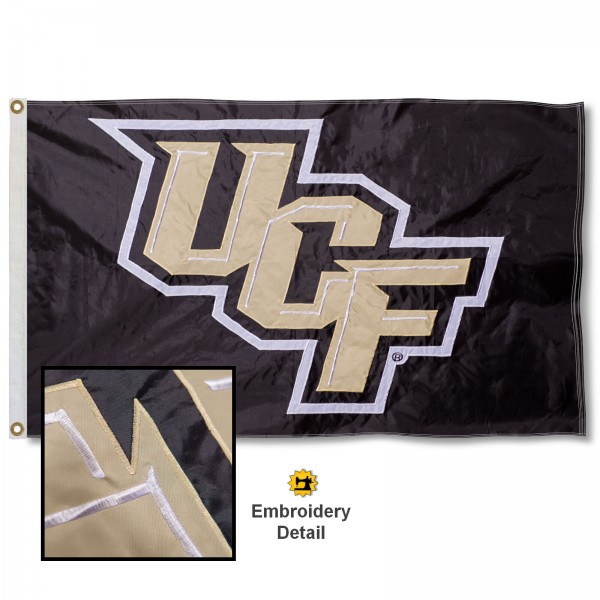 Central Florida Knights Appliqued Sewn Nylon Black Flag