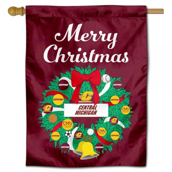 Central Michigan Chippewas Christmas Holiday House Flag