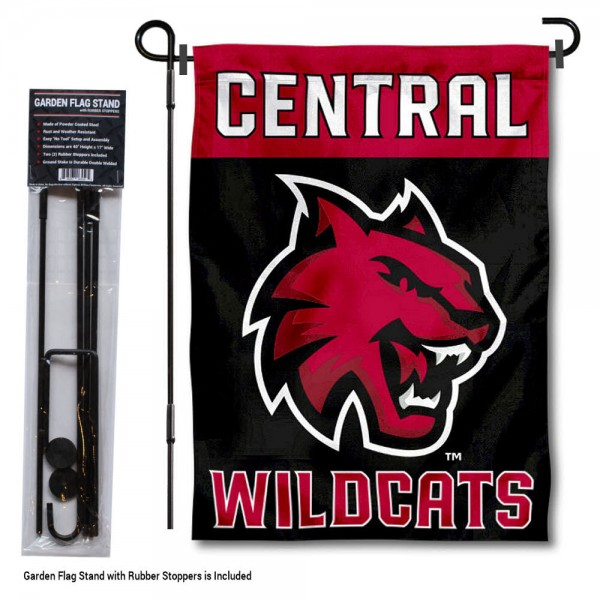 Central Washington Wildcats Black Garden Flag and Holder