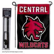 Central Washington Wildcats Black Garden Flag and Holder