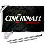 Cincinnati UC Bearcats Black Flag and Bracket Flagpole Set
