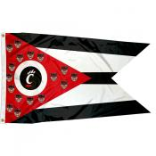 Cincinnati UC Bearcats OH State Shaped Flag