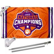 Clemson 2018 Football National Championship Flag and Bracket Flagpole Set