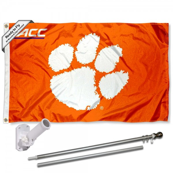 Clemson ACC Conference Flag and Bracket Flagole Set