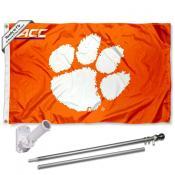 Clemson ACC Conference Flag and Bracket Flagole Set