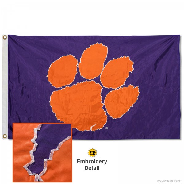 Clemson Appliqued Nylon Purple Flag