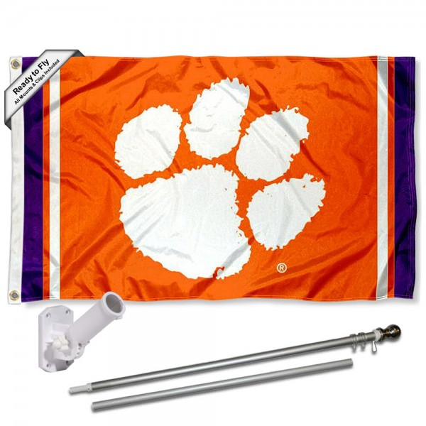 Clemson Flag and Bracket Flagpole Kit