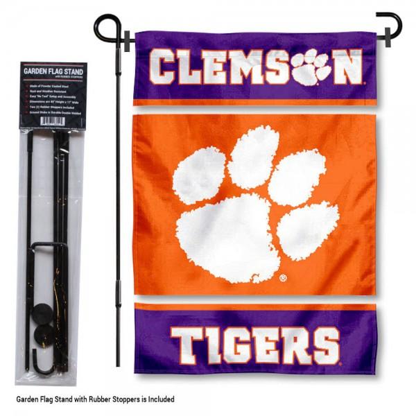 Clemson Garden Flag and Holder