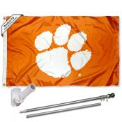 Clemson Orange and Paw Flag and Bracket Flagole Set