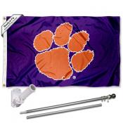 Clemson Purple Flag and Bracket Flagpole Set