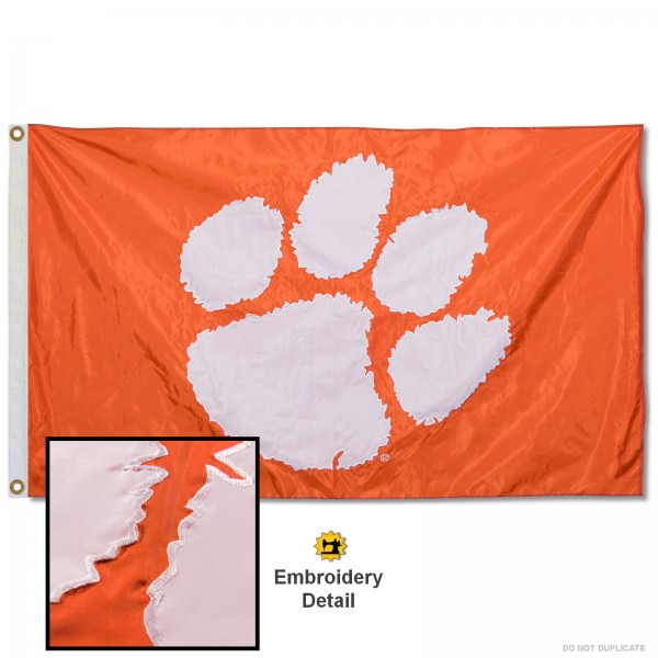 Clemson Tigers Appliqued Sewn Nylon Orange Flag