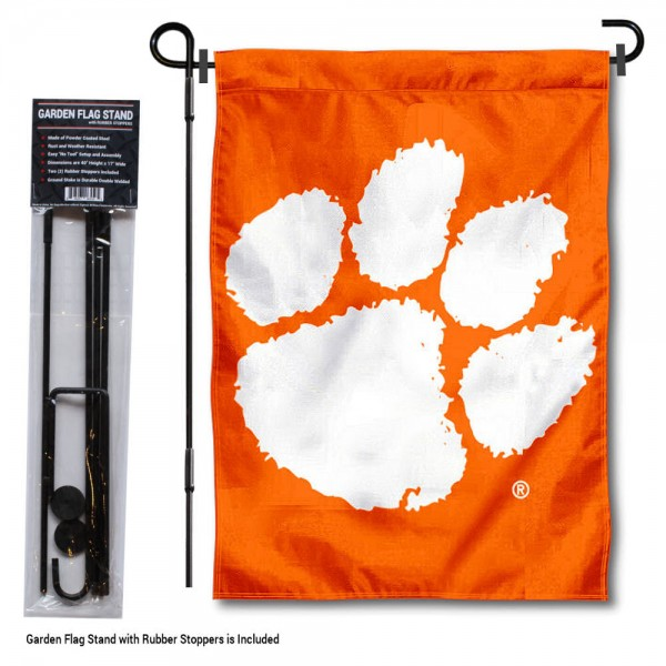 Clemson Tigers Paw Garden Flag and Holder