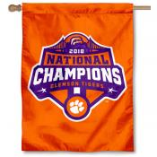 Clemson University 2018 National Champions Logo House Flag