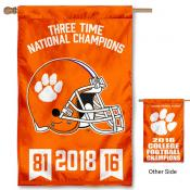 Clemson University 3 Time National Football Champions House Flag
