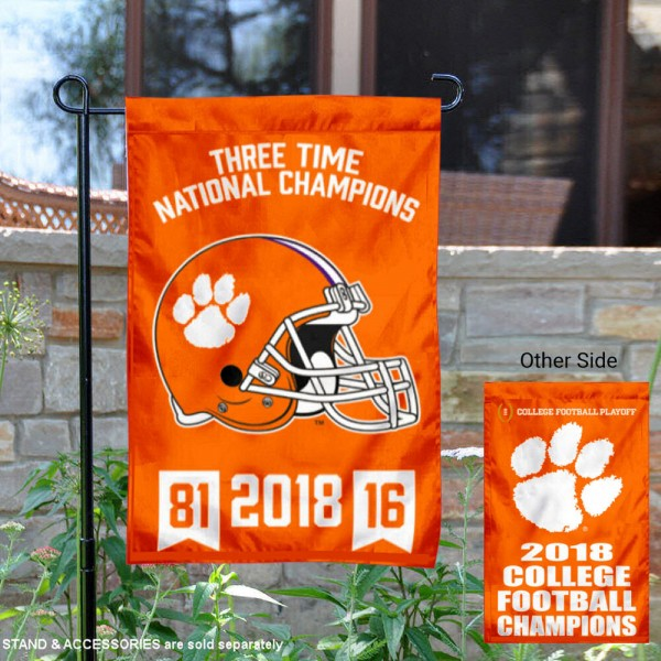 Clemson University College Football 3 Time Champions Garden Flag