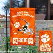 Clemson University College Football 3 Time Champions Garden Flag