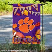 Clemson University Tigers Fall Leaves Football Double Sided Garden Banner