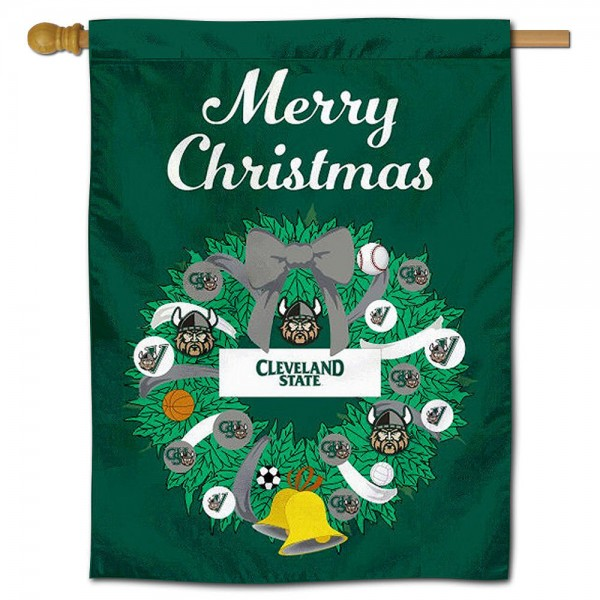 Cleveland State Vikings Christmas Holiday House Flag