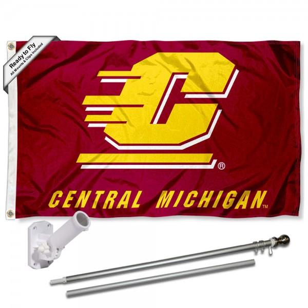 CMU Chippewas Flag and Bracket Flagpole Set