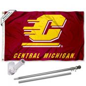 CMU Chippewas Flag and Bracket Flagpole Set