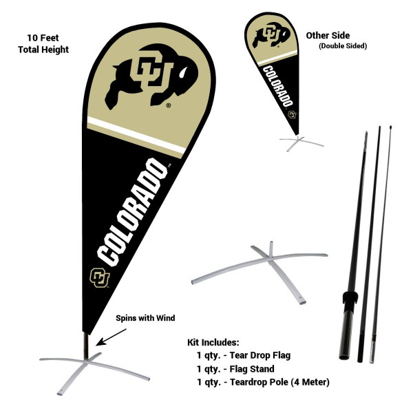 Colorado Buffaloes Teardrop Flag and Stand Kit