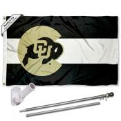 Colorado CU Buffaloes CO State Design Flag and Bracket Flagpole Kit