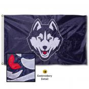 Connecticut Huskies Appliqued Sewn Nylon Flag