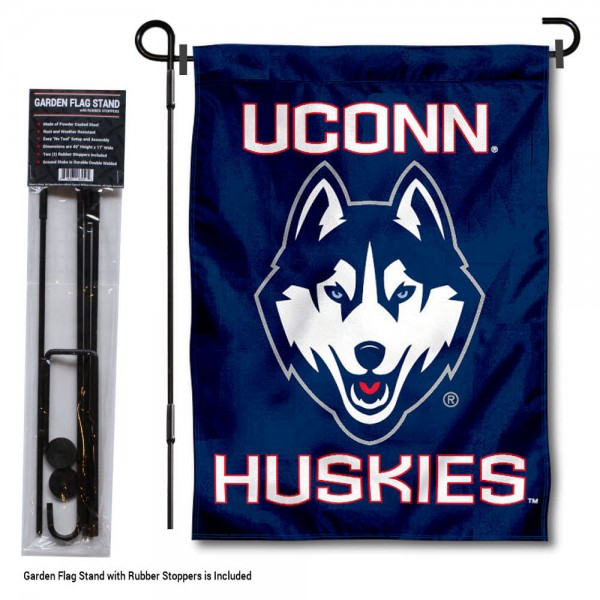 Connecticut Huskies Garden Flag and Holder