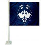 Connecticut Huskies New Husky Logo Car Flag