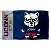 Connecticut Huskies Tokyodachi Cartoon Mascot Flag